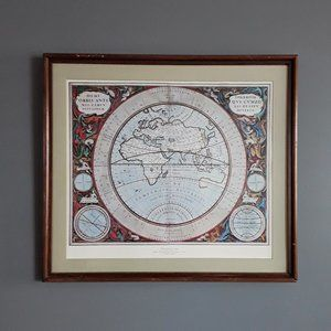WORLD MAP of 1660 Framed Printed Wall Art VINTAGE